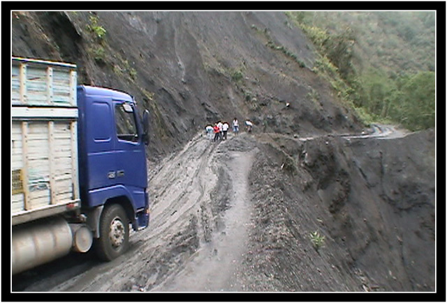 Mudslide on the road, and a veritable traffic jam