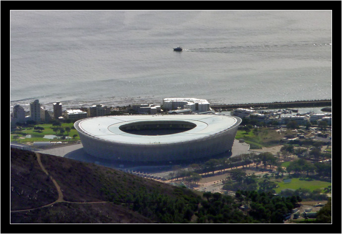 The Cape Town stadium, seen from Table Mountain